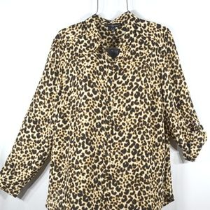 Black Cream Leopard Print Blouse Shirt PLus 2X